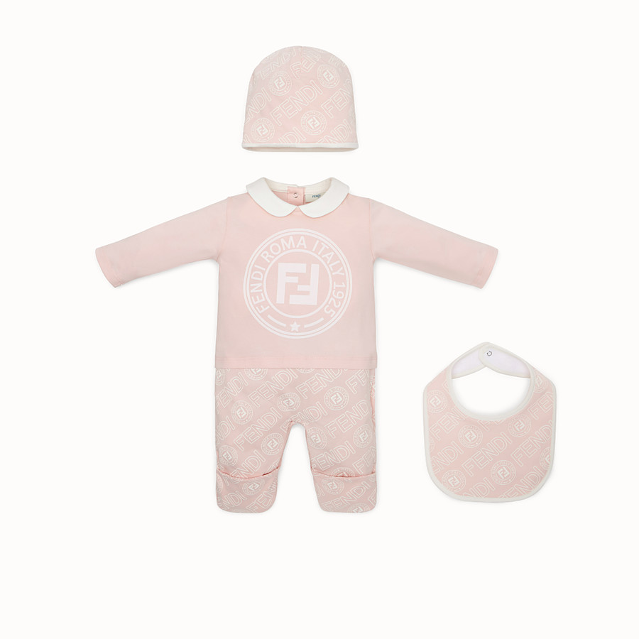 FENDI BABY'S KIT - Pink cotton jersey baby kit - view 1 detail