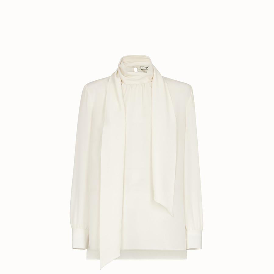 FENDI SHIRT - White crêpe de Chine blouse - view 1 detail