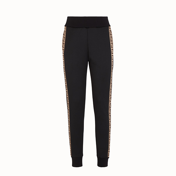 FENDI TROUSERS - Black jersey jogging trousers - view 1 small thumbnail