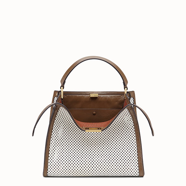 FENDI PEEKABOO X-LITE MEDIUM - Sac en cuir blanc - view 1 small thumbnail