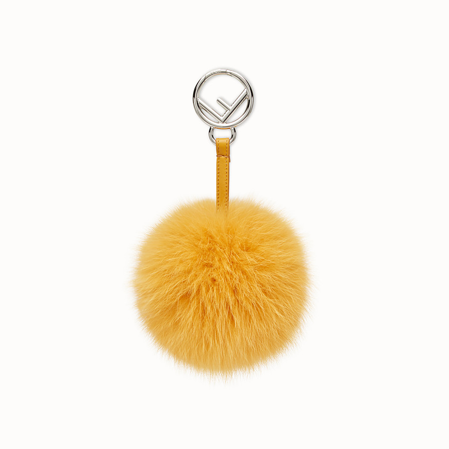 FENDI POM-POM CHARM - Yellow fox fur charm - view 1 detail