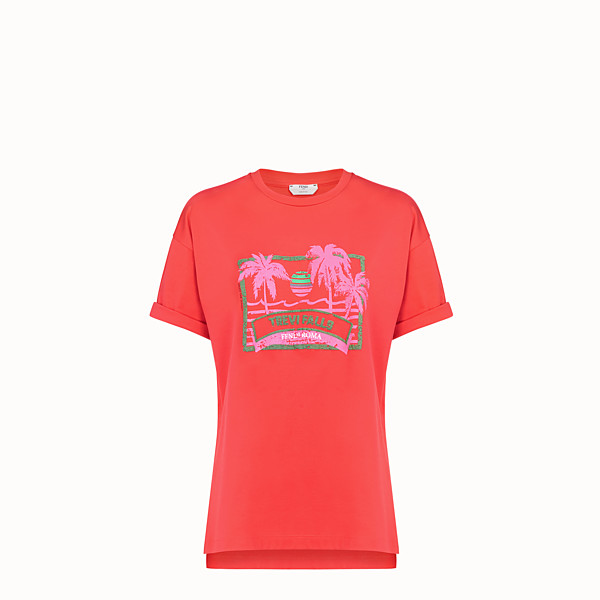 FENDI T-SHIRT - Red cotton T-shirt - view 1 small thumbnail
