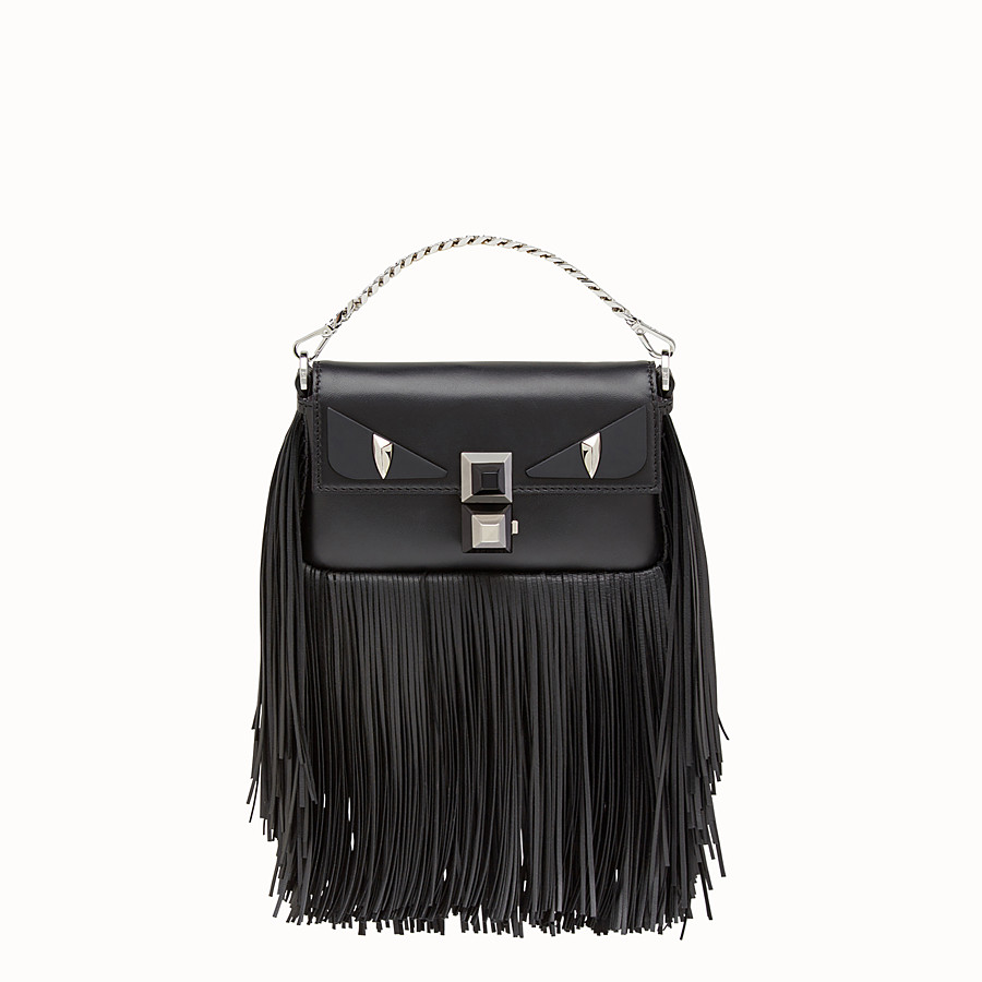 FENDI MICRO BAGUETTE - Black nappa micro-bag with fringe - view 1 detail