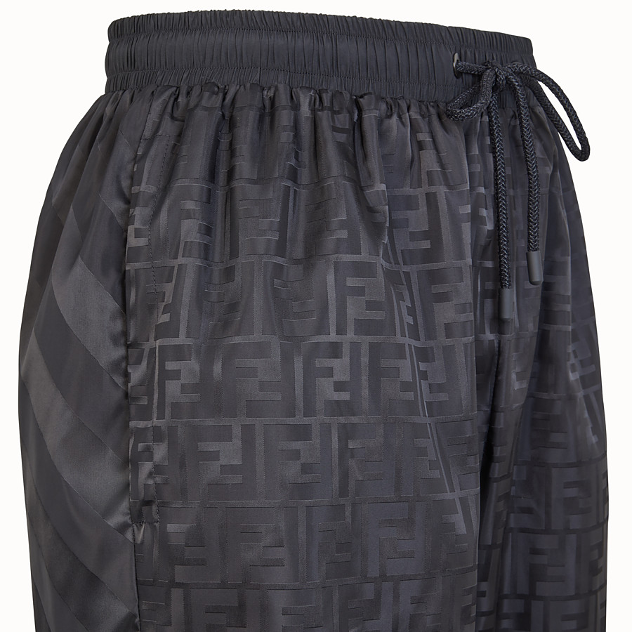 FENDI TROUSERS - Black nylon Bermudas - view 3 detail