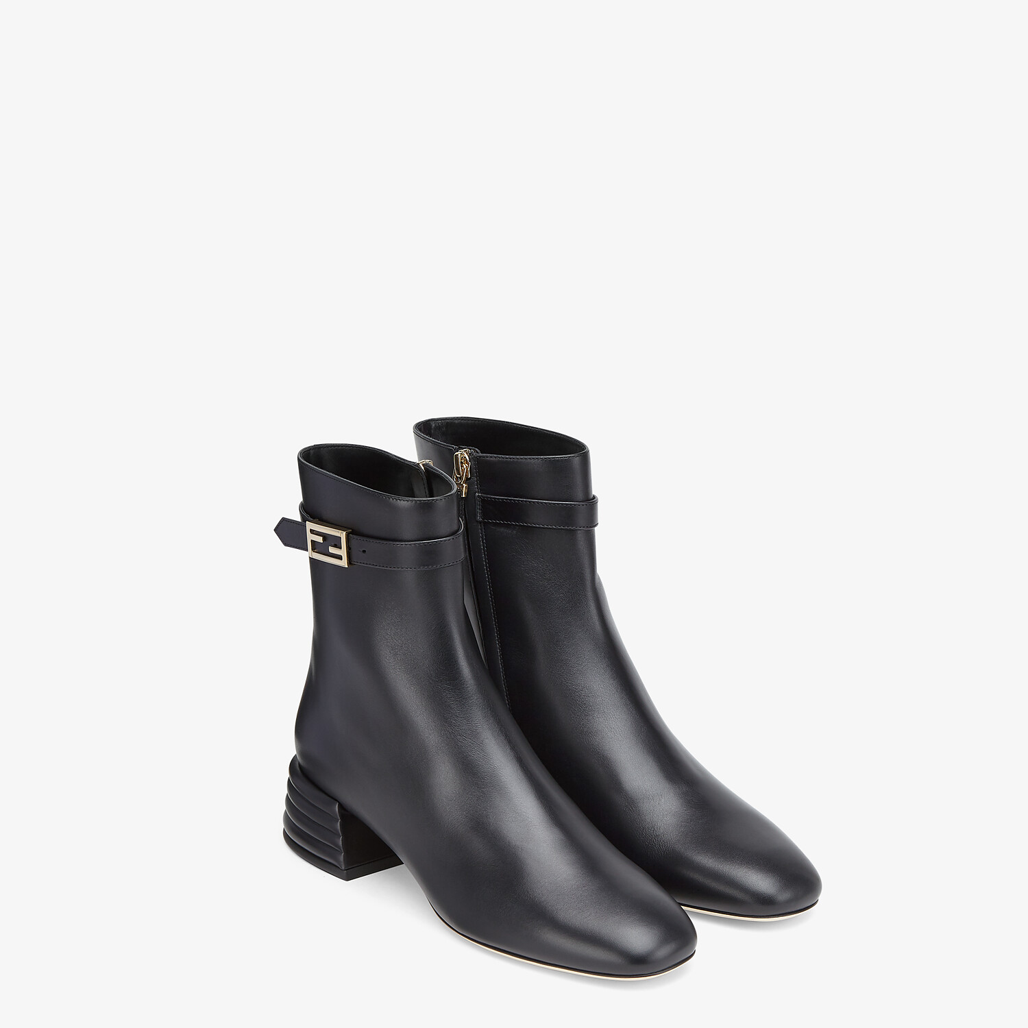 FENDI ANKLE BOOTS - Black leather booties - view 4 detail