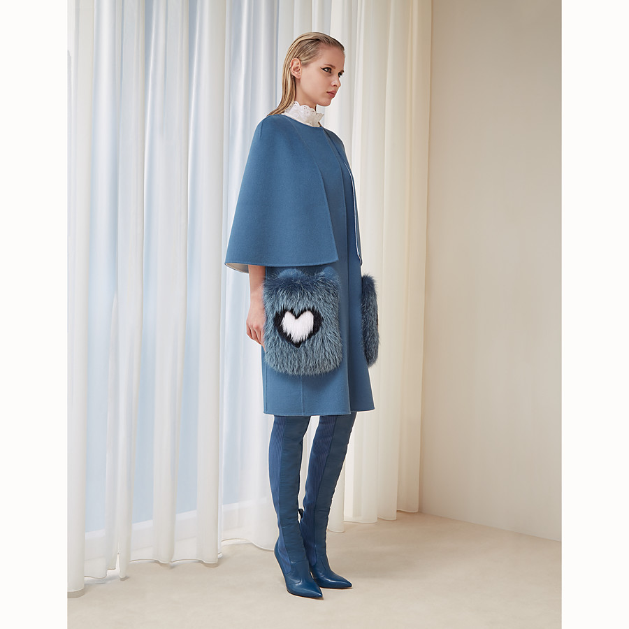 FENDI COAT - Blue wool coat - view 4 detail