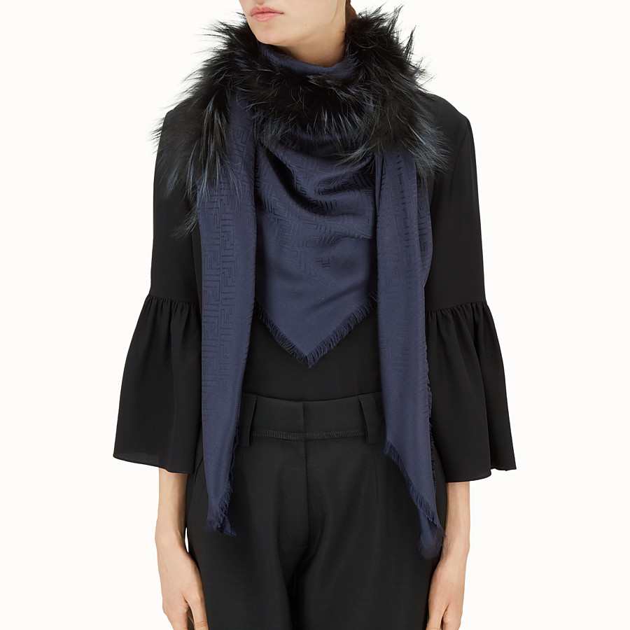 FENDI TOUCH OF FUR SHAWL - Blue silk and wool shawl - view 3 detail