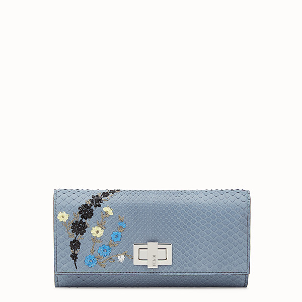 FENDI CONTINENTAL - Wallet in blue python skin - view 1 small thumbnail