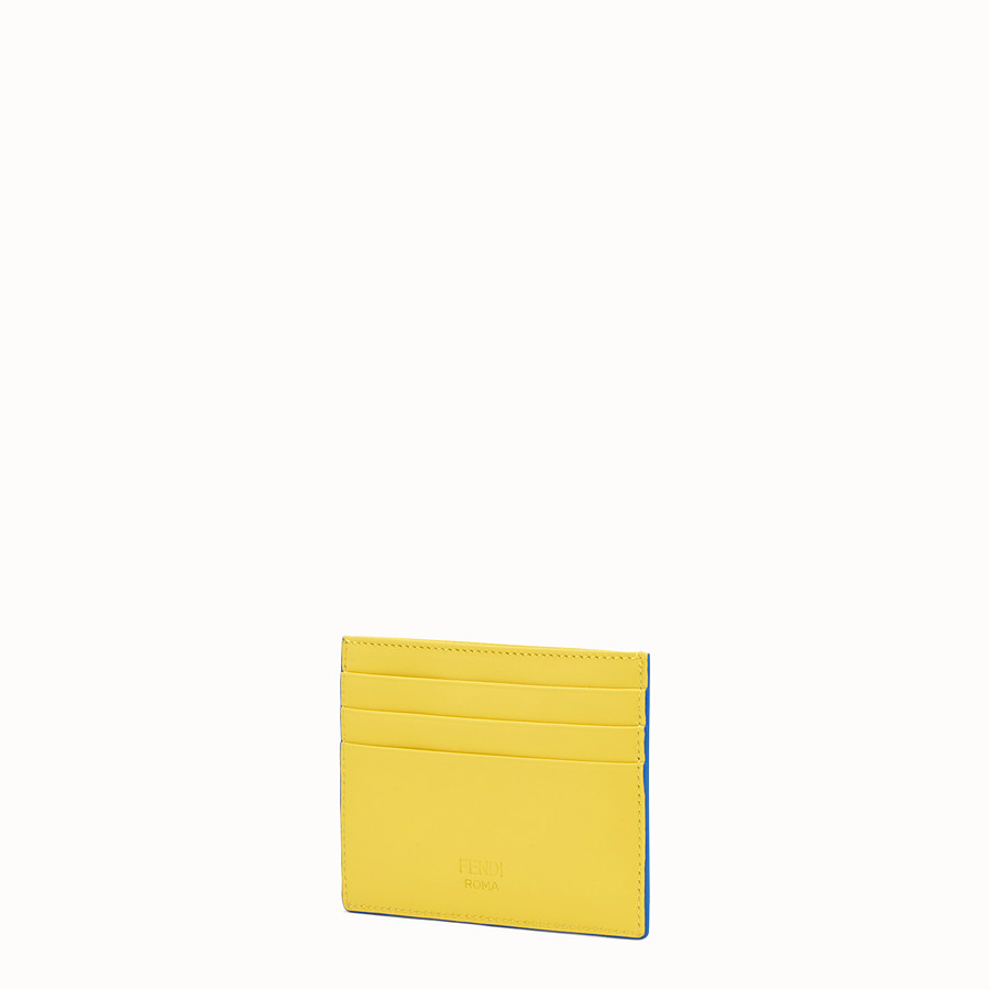 FENDI CARD HOLDER - Three-slot card holder in yellow leather - view 2 detail