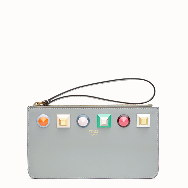 FENDI FLAT CLUTCH - Gray leather pouch - view 1 small thumbnail
