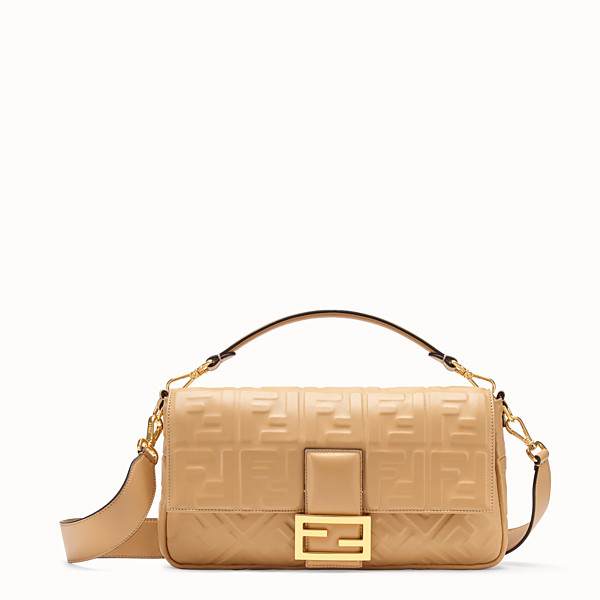 FENDI BAGUETTE LARGE - Beige leather bag - view 1 small thumbnail