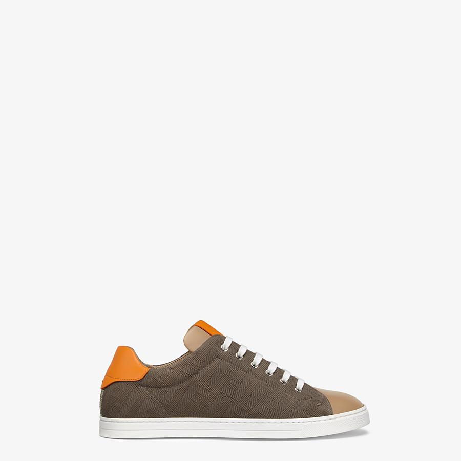 FENDI SNEAKERS - Multicolour canvas and leather low-tops - view 1 detail