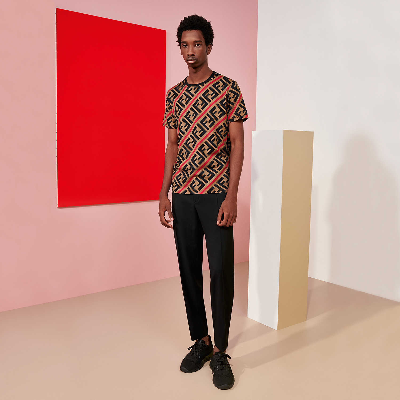 FENDI T-SHIRT - Beige cotton T-shirt - view 4 detail