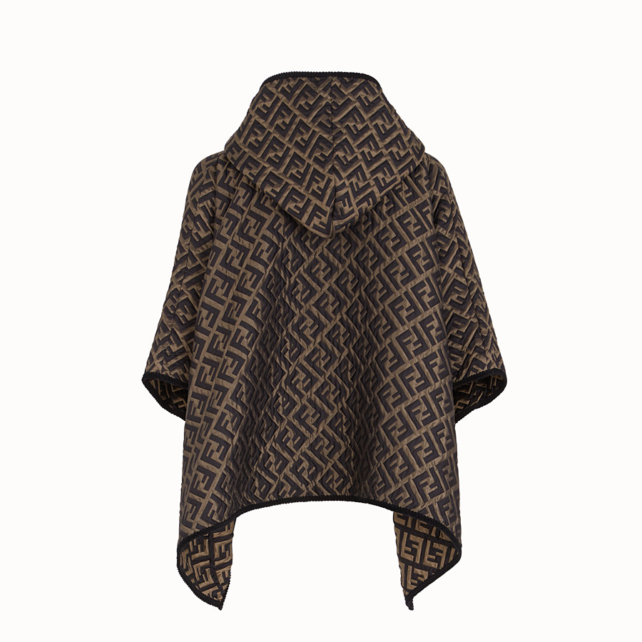 FENDI CAPE - Brown silk and wool cape - view 2 detail