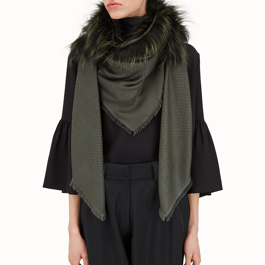 FENDI LOGO SHAWL - Shawl in silk, wool and fur - view 3 detail