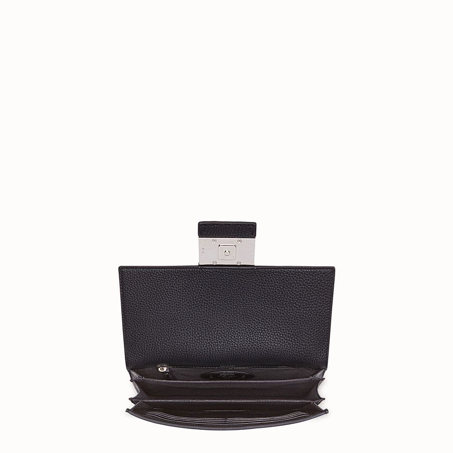 FENDI STANDING CLUTCH - Black calf leather pochette - view 3 detail
