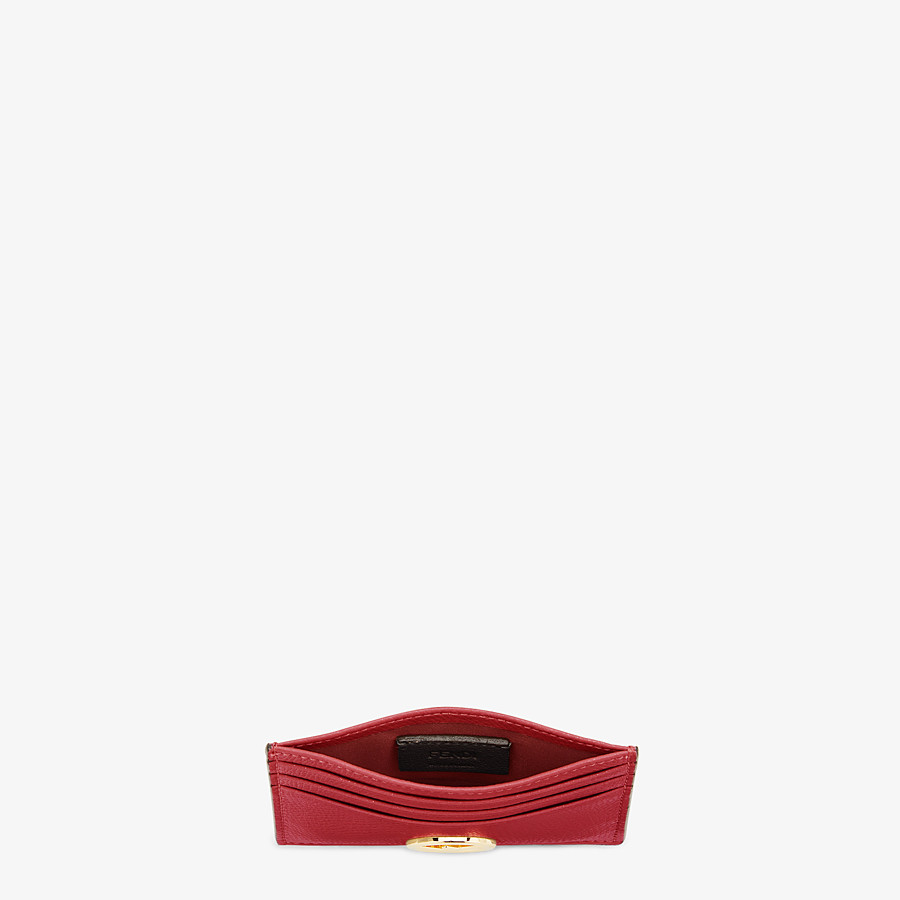 FENDI CARD HOLDER - Red leather flat card holder - view 4 detail