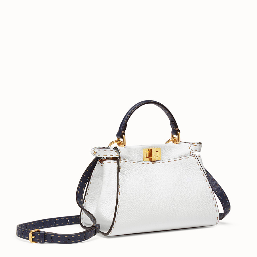 FENDI PEEKABOO ICONIC MINI - White leather bag - view 3 detail