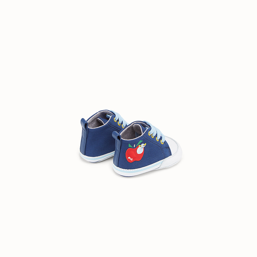 FENDI APPLE SNEAKERS - Blue jersey sneakers - view 2 detail