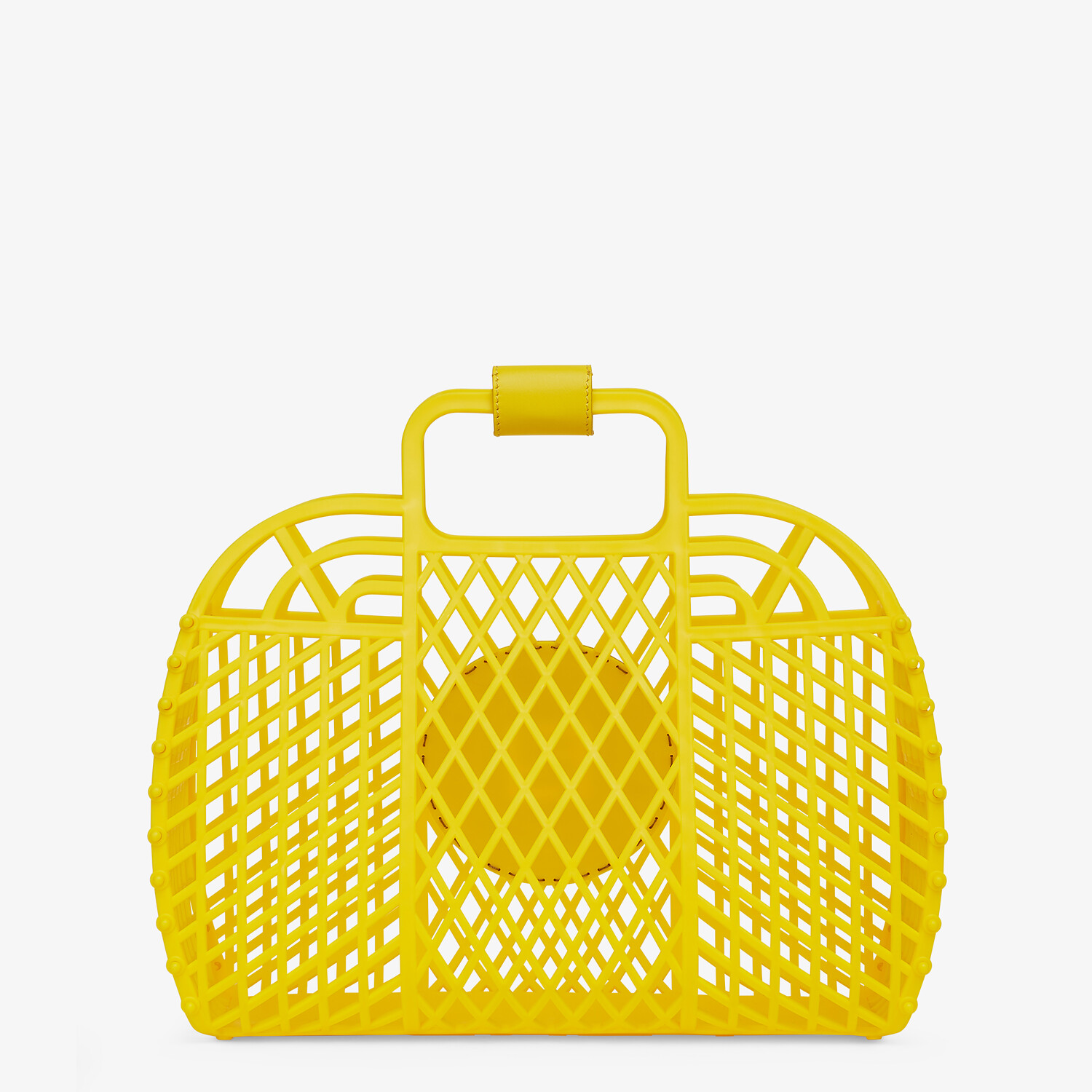 FENDI FENDI BASKET MEDIUM - Yellow recycled plastic mini-bag - view 4 detail