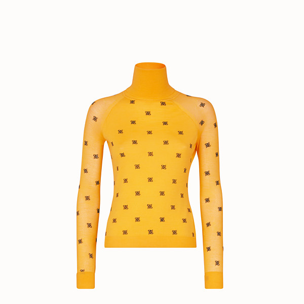 FENDI PULLOVER - Yellow wool and silk jumper - view 1 small thumbnail