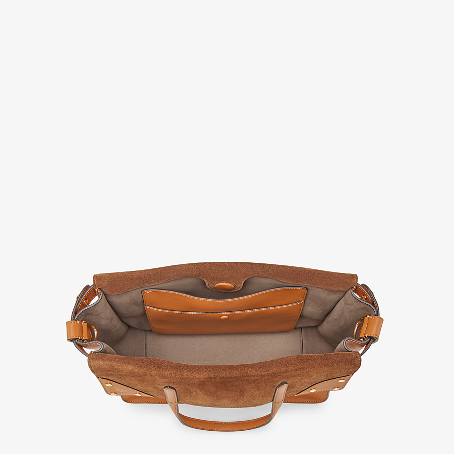 FENDI FENDI FLIP LARGE - Brown leather and suede bag - view 6 detail