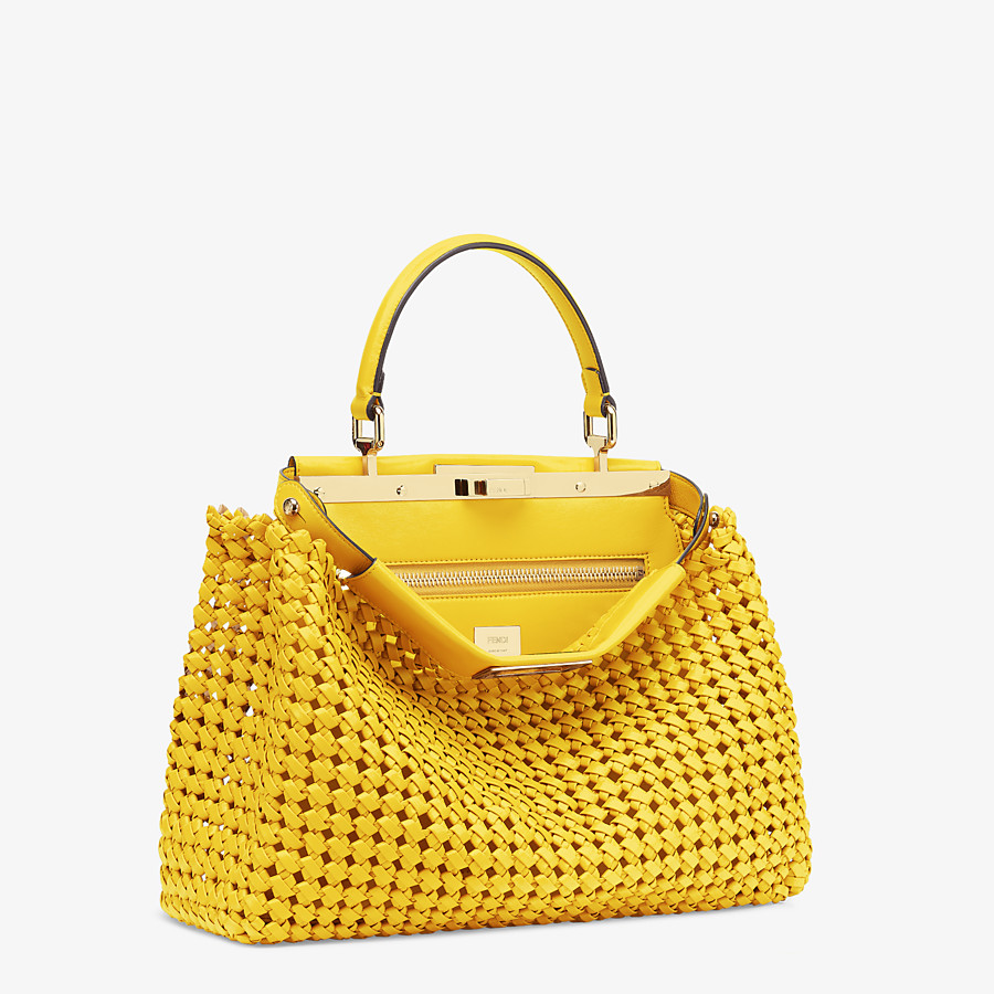 FENDI PEEKABOO ICONIC MEDIUM - Yellow leather interlace bag - view 3 detail