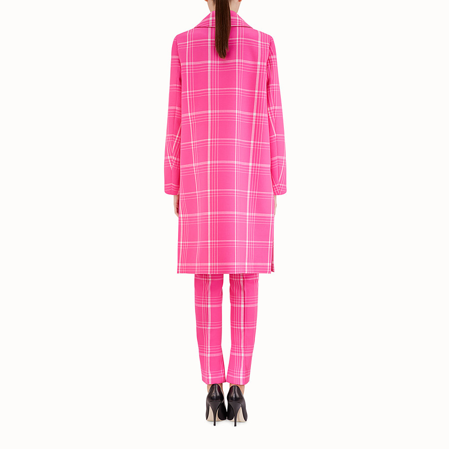 FENDI MANTEAU LONG - Manteau en laine tartan fuchsia - view 2 detail