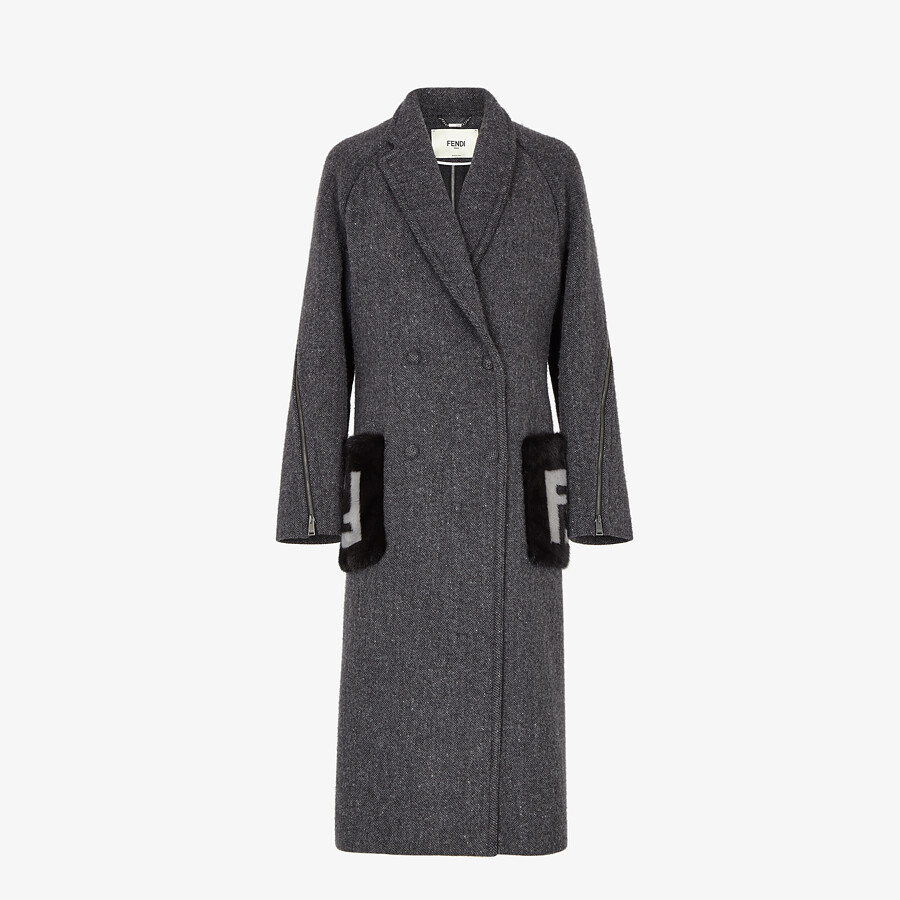 FENDI COAT - Gray melange double wool tweed coat - view 1 detail