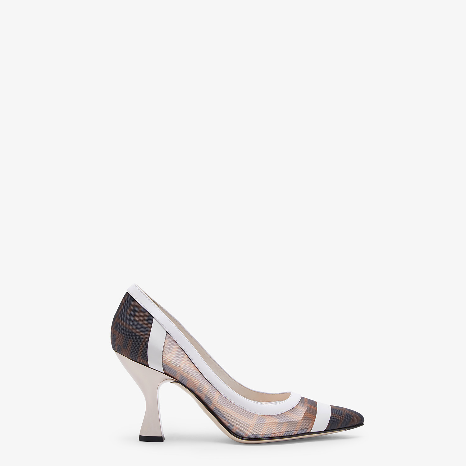 FENDI PUMPS - Mesh and white leather court shoes - view 1 detail