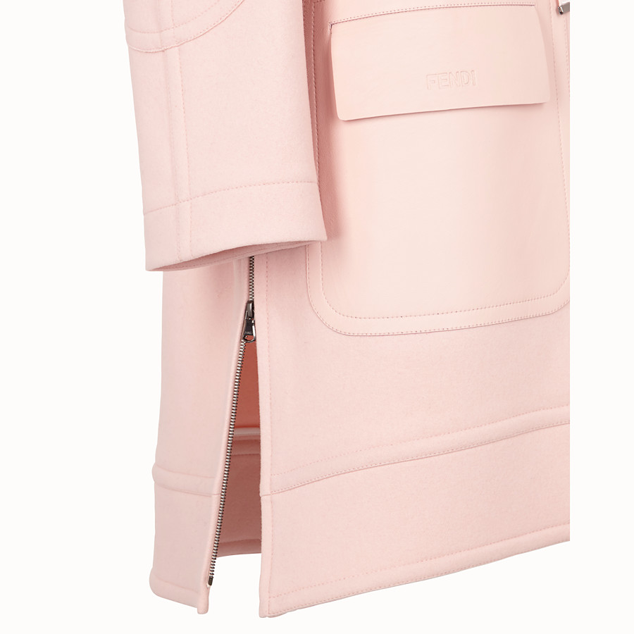 FENDI OVERCOAT - Pink wool parka - view 3 detail