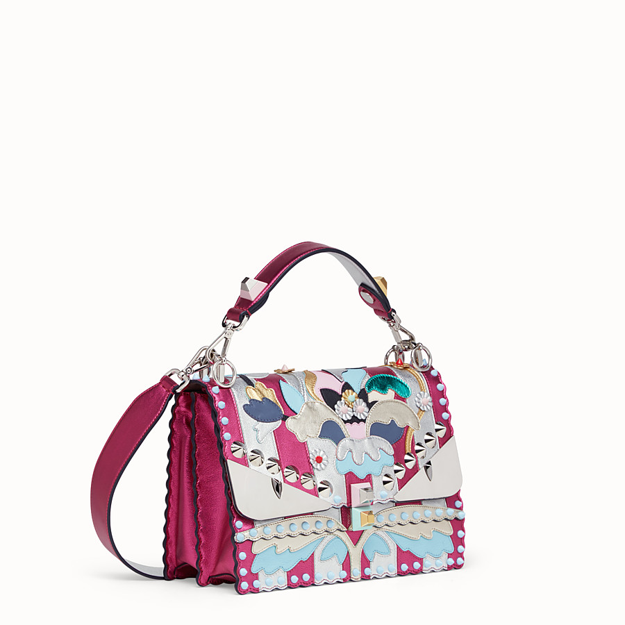 FENDI KAN I - Bag in silver-coloured and fuchsia leather - view 2 detail