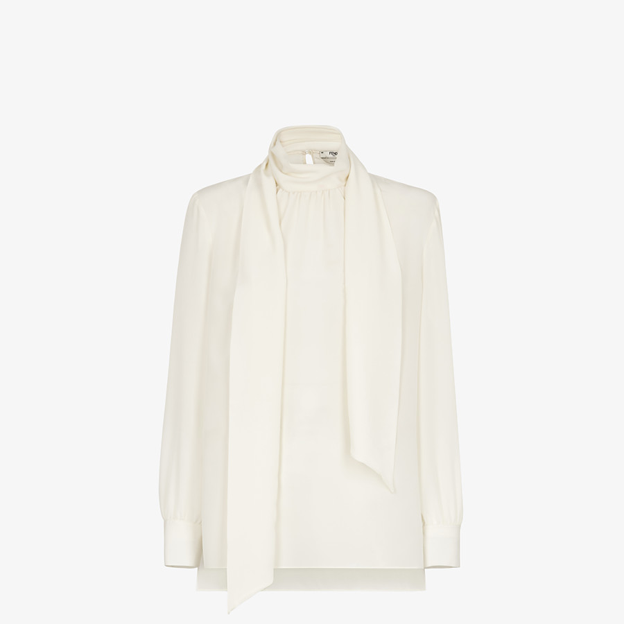 FENDI SHIRT - White crêpe de chine blouse - view 1 detail