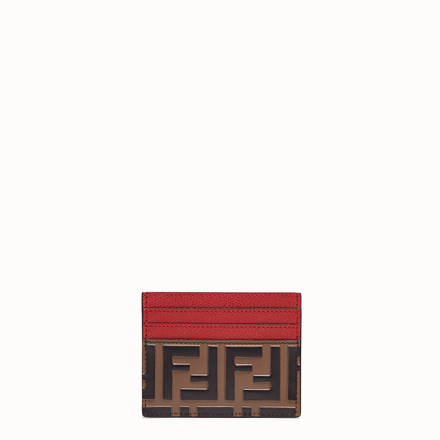 FENDI CARD HOLDER - Brown leather flat business card holder - view 1 detail