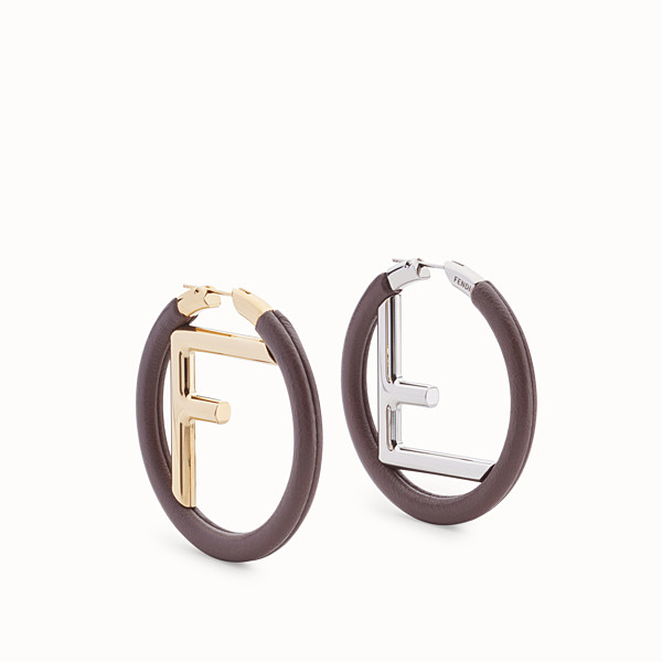 FENDI BOUCLE D'OREILLE F IS FENDI - Boucles d'oreilles en cuir marron - view 1 small thumbnail