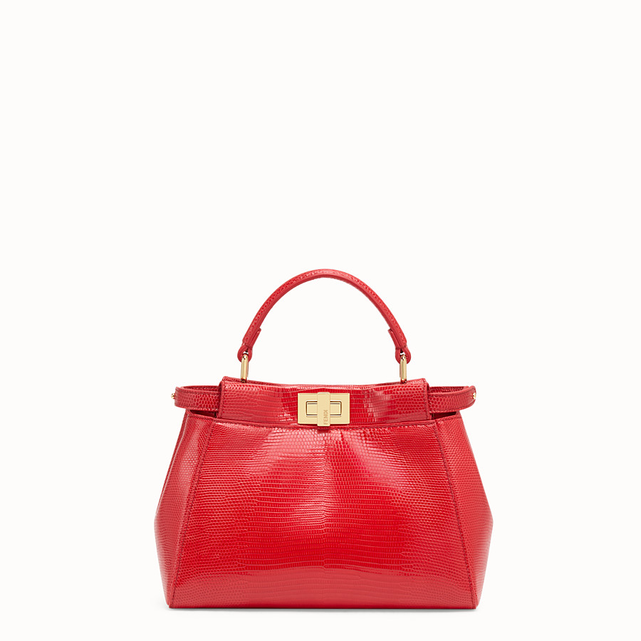 FENDI PEEKABOO MINI - Red lizard bag - view 1 detail