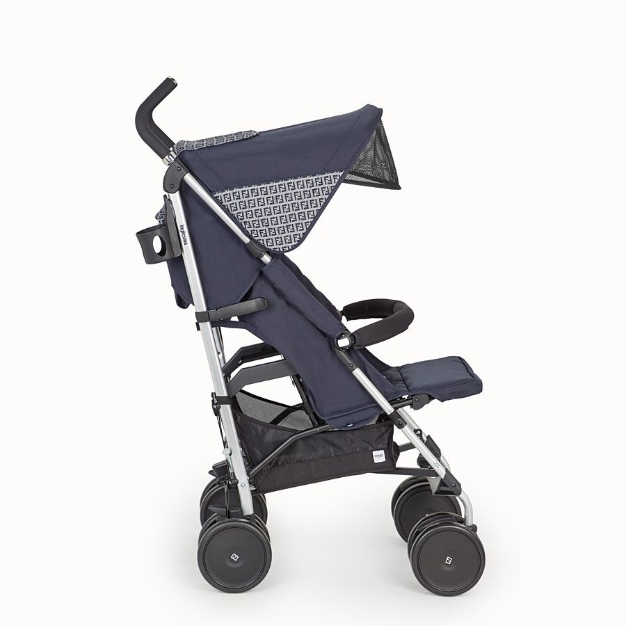 FENDI PUSHCHAIR - Pushchair in blue fireproof material with FF motif - view 3 detail