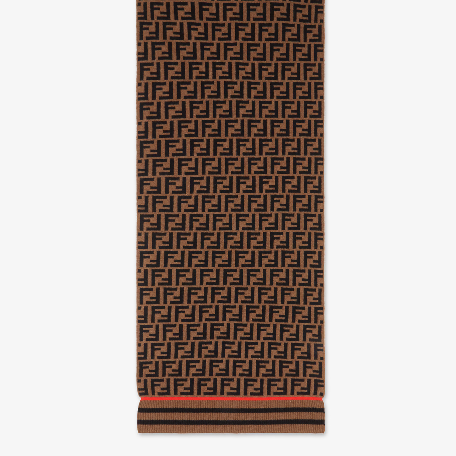 FENDI FF SCARF - Brown wool and cashmere scarf - view 1 detail