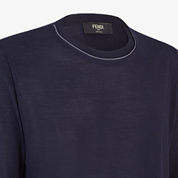 FENDI PULLOVER - Blue cashmere, wool and silk jumper - view 3 thumbnail