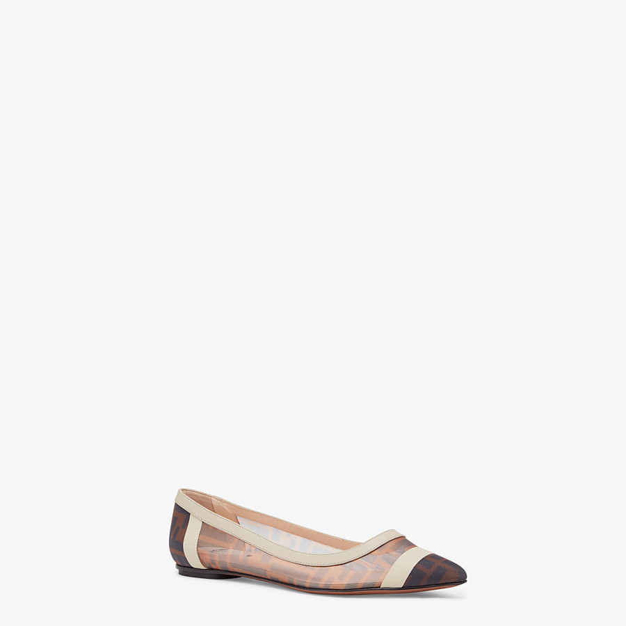 FENDI BALLERINAS - Flat in mesh and white leather - view 2 detail