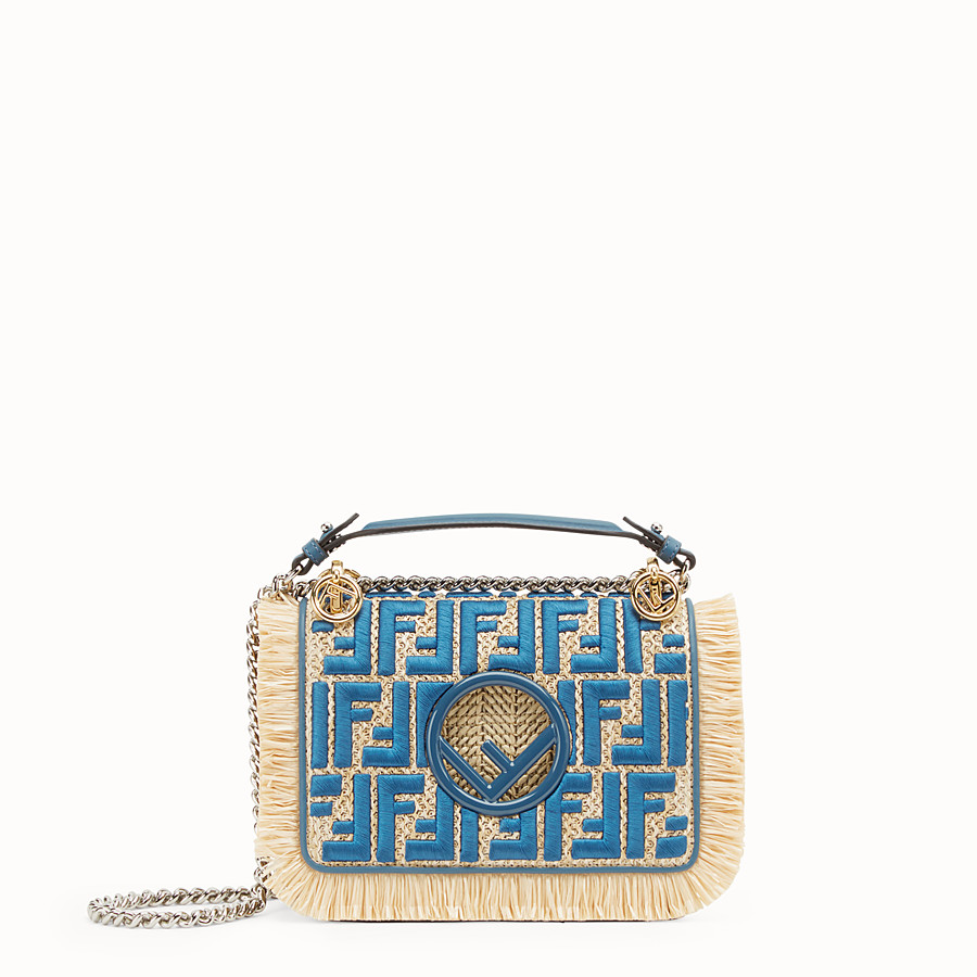 FENDI KAN I F SMALL - Raffia and blue leather mini-bag - view 1 detail