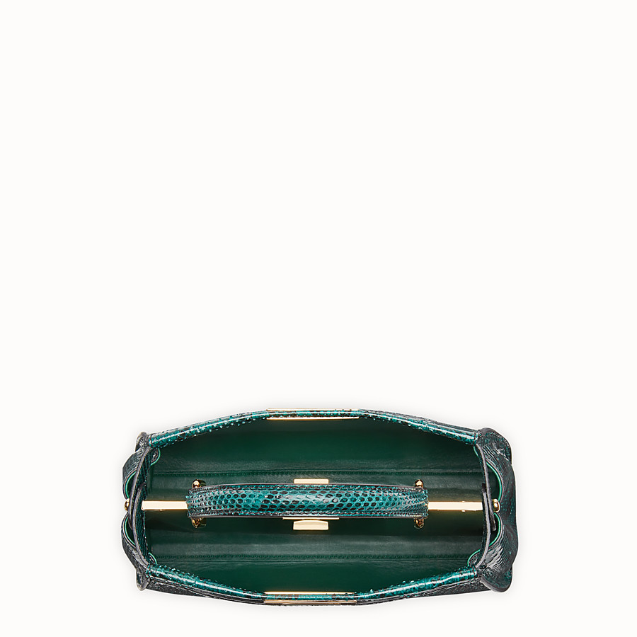 FENDI PEEKABOO REGULAR - Green python handbag. - view 4 detail
