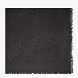 FENDI FF SHAWL - Black silk and jacquard wool shawl - view 1 thumbnail