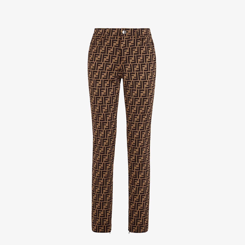 FENDI PANTS - Brown cotton jersey pants - view 1 detail