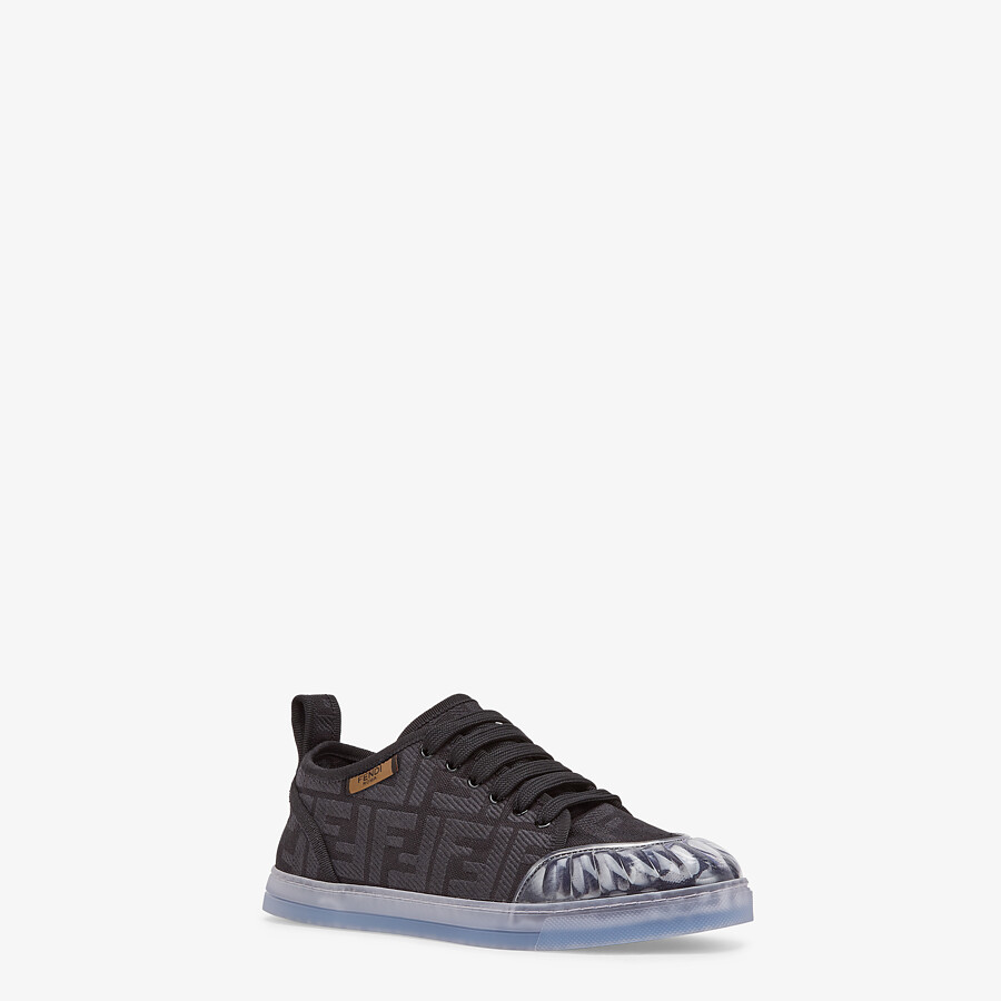 FENDI SNEAKERS - Black canvas low-tops - view 2 detail