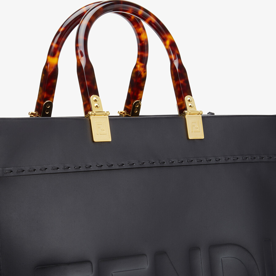 FENDI FENDI SUNSHINE MEDIUM - Black leather shopper - view 6 detail