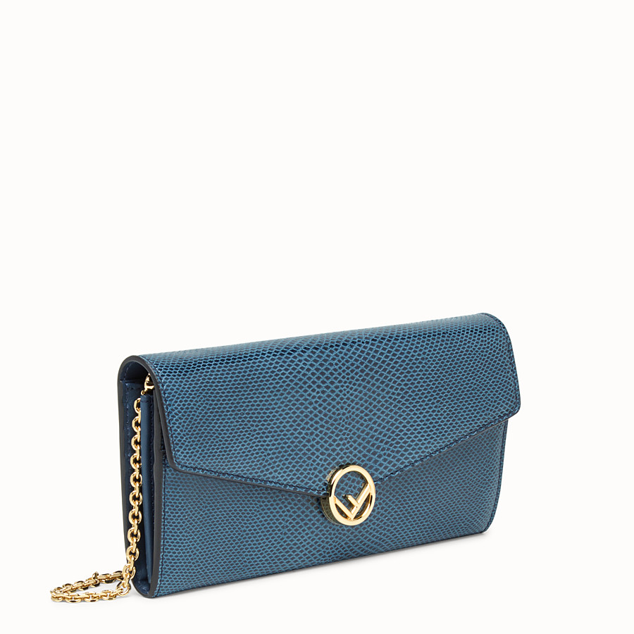 FENDI CONTINENTAL WITH CHAIN - Blue karung wallet - view 2 detail
