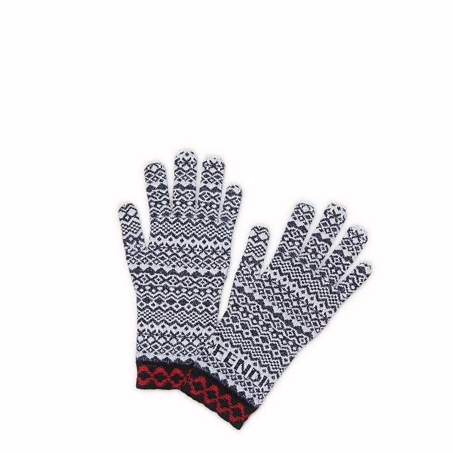 FENDI FENDI HERITAGE GLOVES - Multicolour wool and viscose gloves - view 1 detail