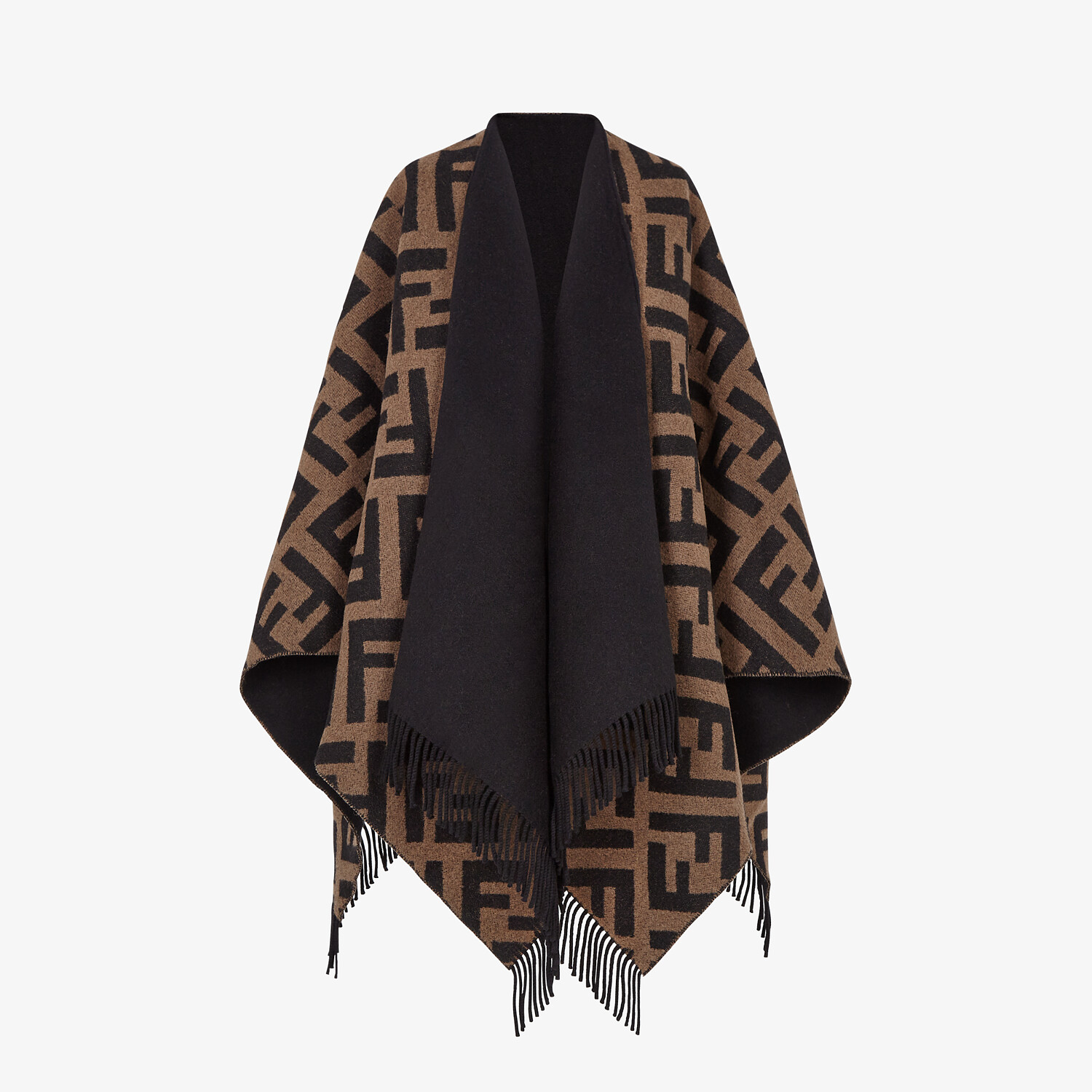 FENDI PONCHO - Multicolor wool and cashmere poncho - view 4 detail