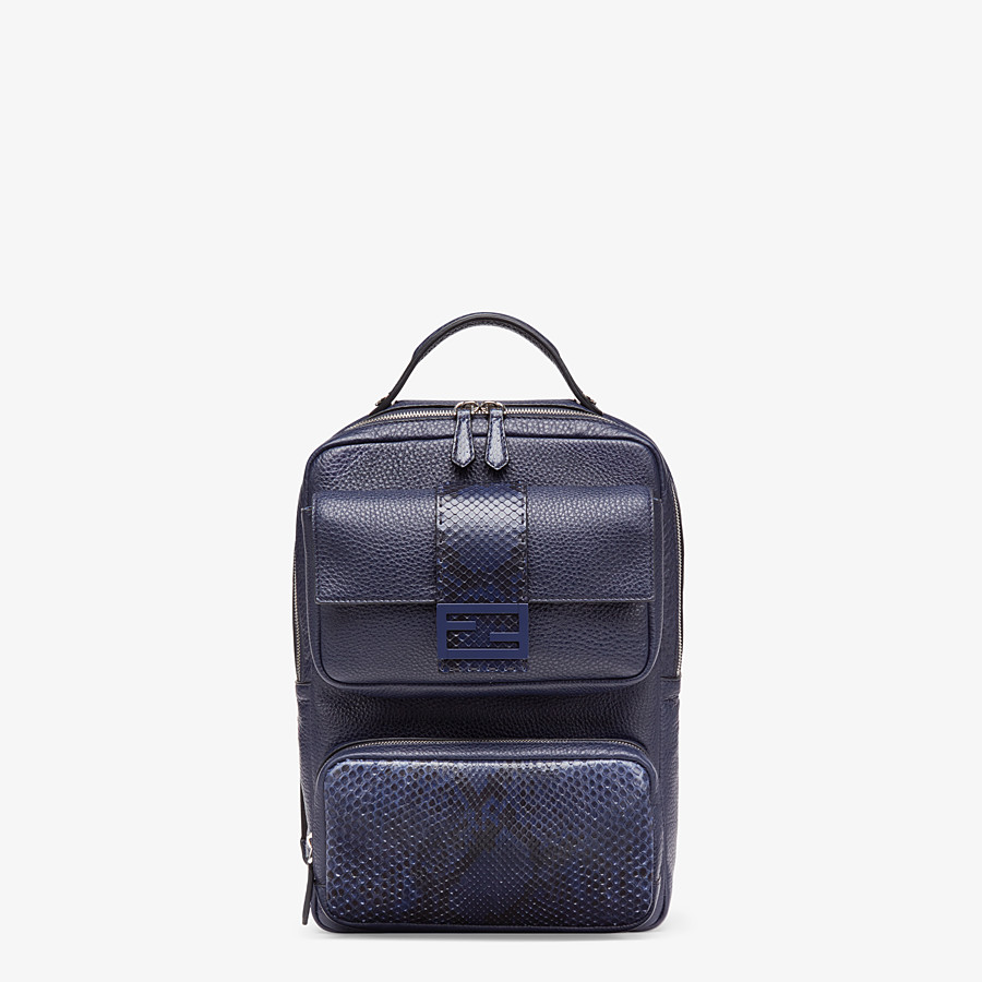 FENDI BACKPACK - Blue calf leather backpack - view 1 detail